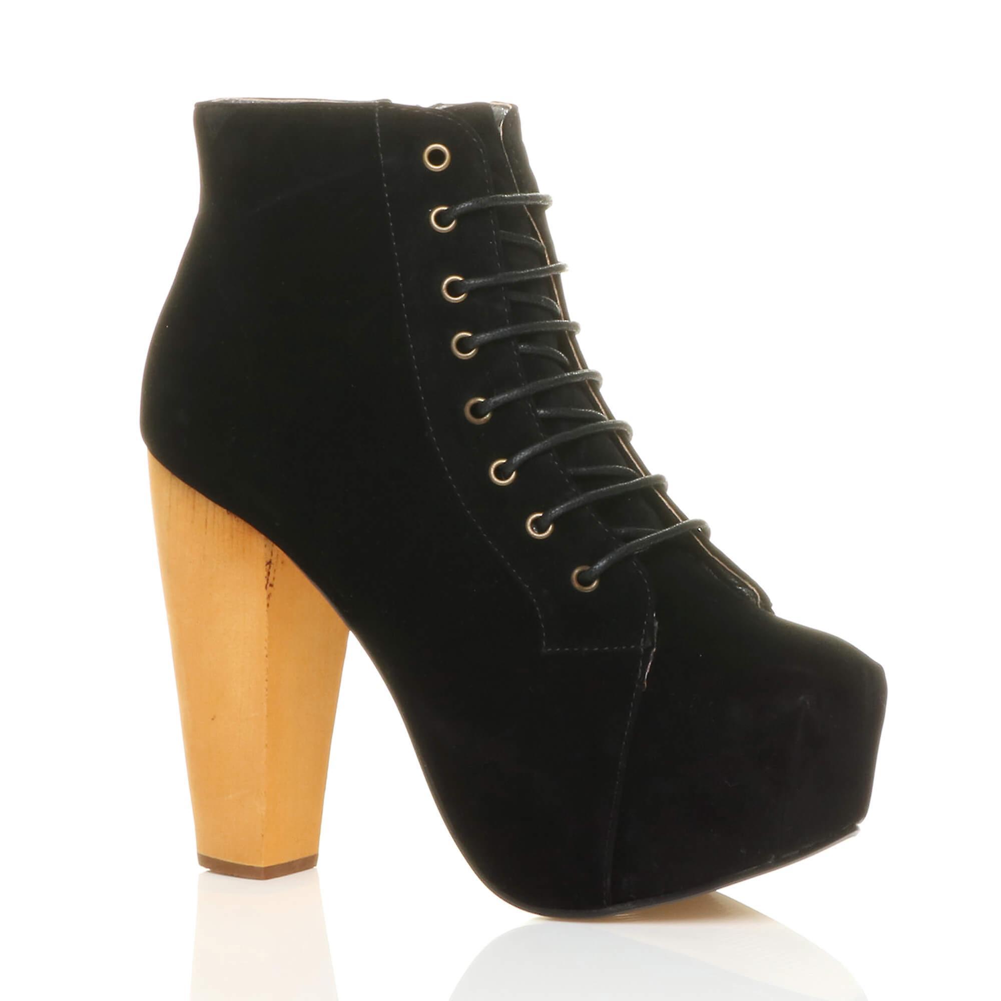Ajvani damskie zasznurować botki platforma drewniany blok wysoki obcas, buty za kostkę QWZOE