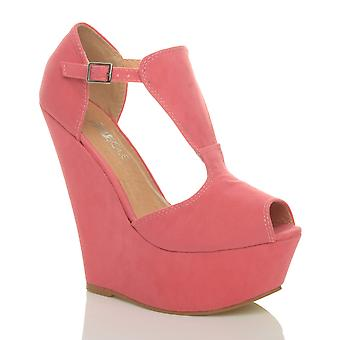 Ajvani mujer alta cuña talón t peep toe zapatos sandalias plataforma