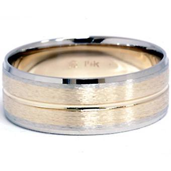 Csatorna csiszolt Wedding Band 14K Gold