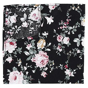 Black Floral Primrose Cotton Pocket Square
