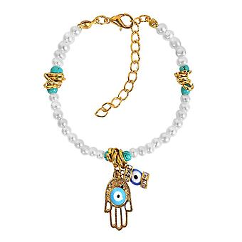Evil Eye Protection Hamsa HAmulet simuliert weiße Perle simulierten Türkis Glücksbringer Armband