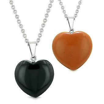 Amulette Lucky geschwollene Herzen Liebe Freundinnen Paare setzen schwarzen Achat roter Jaspis Anhänger Halsketten