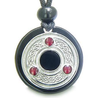 Amulet Keltische Triquetra bescherming knoop Magic Circle medaillon Onyx spirituele hanger ketting