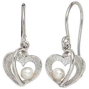 Pearl Heart 925 earrings sterling silver part of ice Matt 2 freshwater pearl earrings