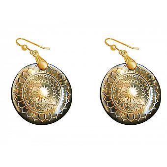 Madre di perle orecchini oro placcato ladies - orecchini - 4 cm - madreperla - grigio-