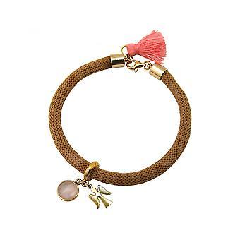 Damen - Armband - Vergoldet - Edelstein - Rosenquarz - Engel - Rosa - Braun