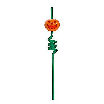 TRIXES Green Pumpkin Spiral Drinking Straw - Flashing and Screaming - for Halloween Parties and Themed Events