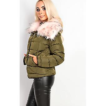 IKRUSH Womens Annika Faux Fur Quilted Jacket