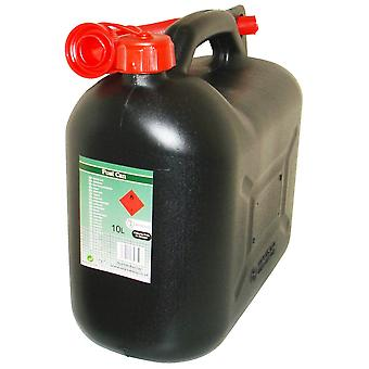 Black Diesel Fuel Canister Plastic Jerry Can 10 Litre Flexible Spout
