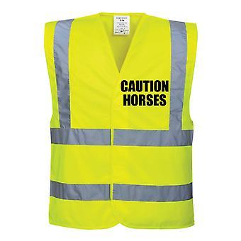 Hei eli keltainen Vis liivit varoitus hevoset
