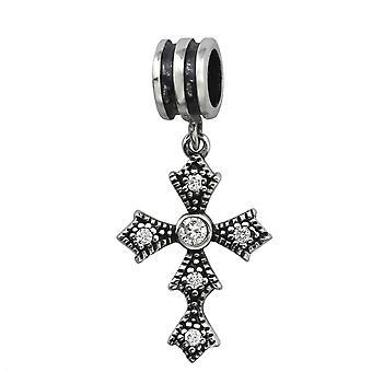 Kreuz - jeweled 925 Sterling Silber Beads - W6564X