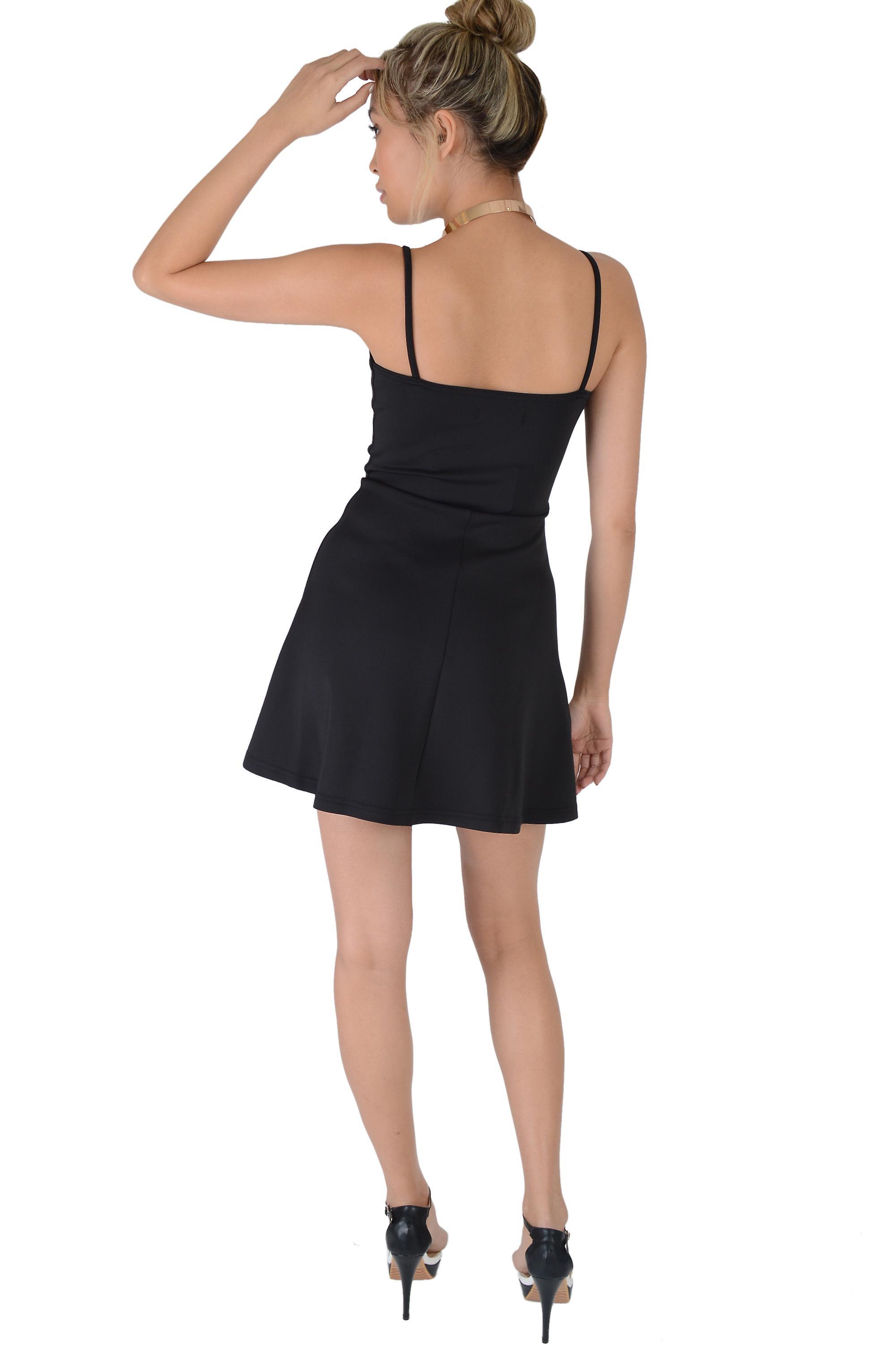Lovemystyle Black Strappy Plunge A-Line Silk/Satin Dress