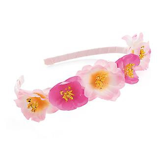 Girl's Two Tone Pink Flower Design Headband