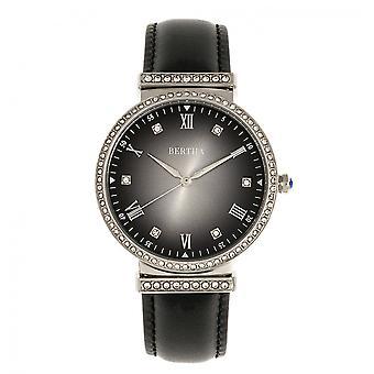 Bertha banda de cuero de Allison reloj - negro