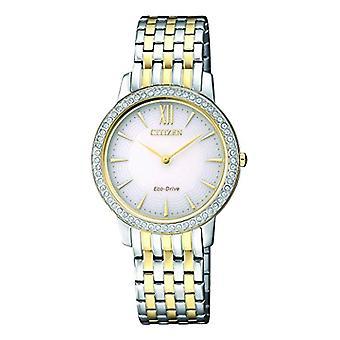 Watch kvinnor Citizen quartz analog Visa rostfritt stål guldpläterad mångfärgade rem och White Dial EX1484-81A