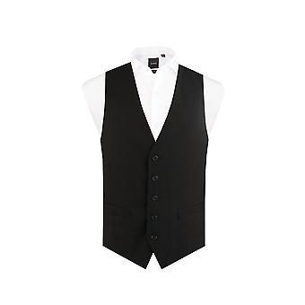 Dobell Mens Black Suit Waistcoat Regular Fit 5 Button Travel/Performance