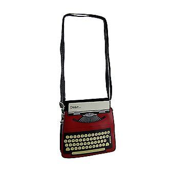 Antique Text Red & Black Vintage Typewriter Purse