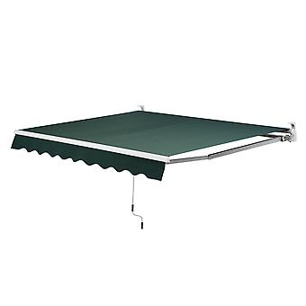 Outsunny 4m x 3m Garden Patio Manual Awning Canopy Sun Shade Shelter Green Retractable Green New