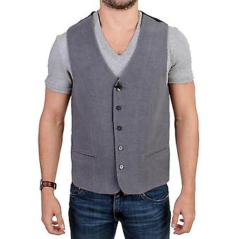 Gray cotton blend casual vest