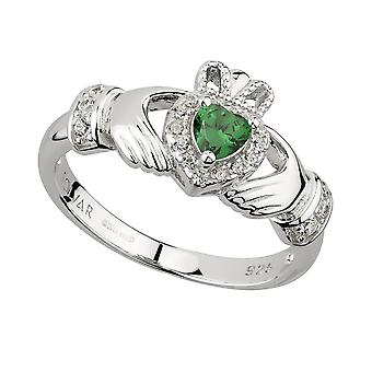Sterling Silver Green Heart Claddagh Ring