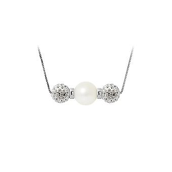 White, Crystal and Silver Culture Pearl Necklace 925 5077
