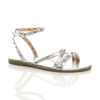 Ajvani womens low wedge heel t-bar diamante slingback strappy sandals