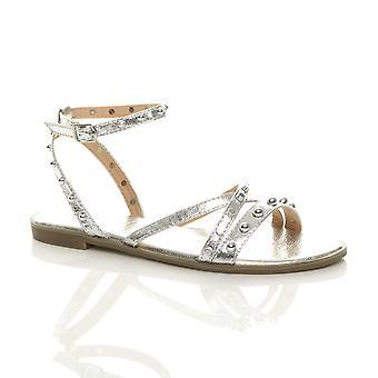 Ajvani kvinner lav kile hæl t-bar Diamante slingback strappy sandaler
