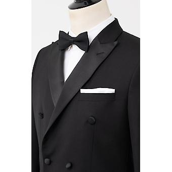 Dobell mens zwart 2 stuk Tuxedo regular fit piek revers double breasted