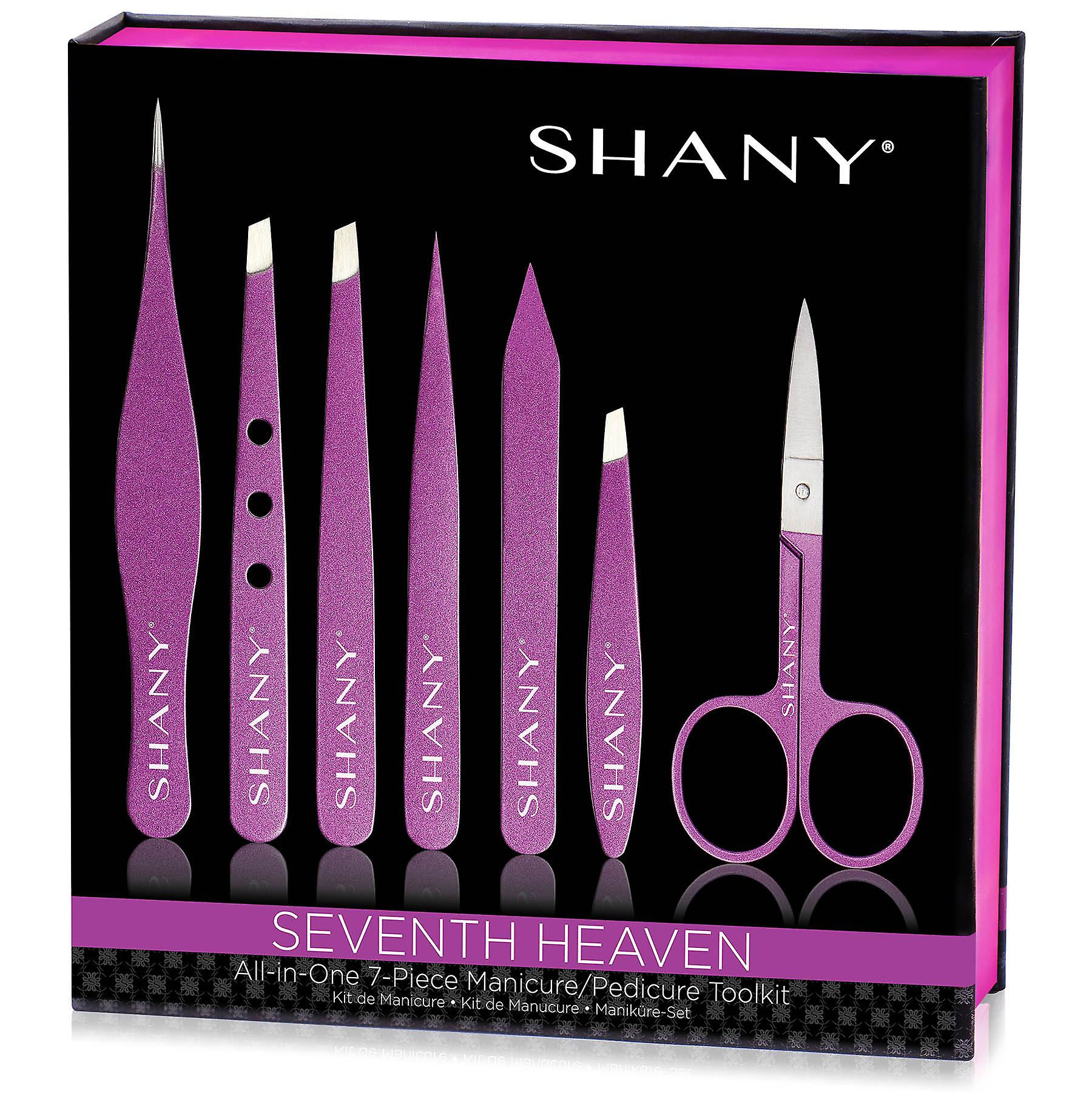 SHANY Seventh Heaven Professional Manicure, Pedicure and Tweezer Set - All-in-One 7-Piece Portable Nail Grooming Tool Kit - PURPLE