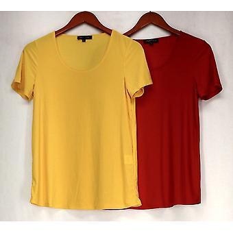 Slinky Top Short Sleeve Scoop Neck Tee 2 Pack Set Yellow / Red Womens 474-645