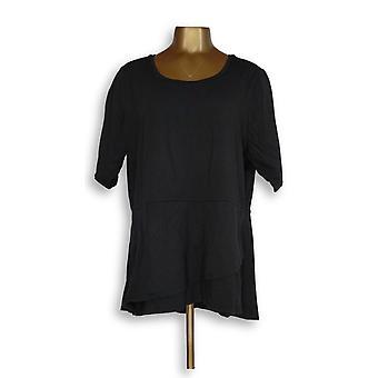Isaac Mizrahi Live! Kvinner ' s topp albue ermet peplum volang svart A303962