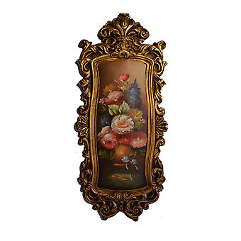 Flowers, oil painting with frame, external dimensions 79x34x4 cm