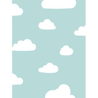 Clouds Wallpaper Soft Teal / White World of Wallpaper A618 CAO 6