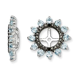 925 Sterling Silver Rhodium banhado Aquamarine e Black Sapphire Brincos Jaqueta Joias Joias para Mulheres