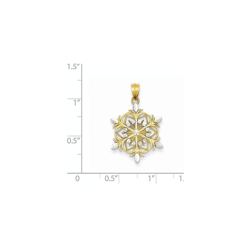14 k Gelbgold poliert Sparkle Cut strukturierte zurück und Rhodium Schneeflocke Anhänger Halskette Maßnahmen 26,8 x 17,5 mm Schmuck G