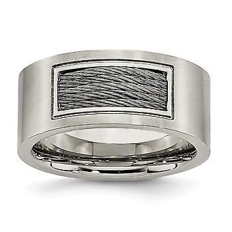Edelstahl gebürstet poliert gravierbare Draht Ring Schmuck Geschenke für Frauen - Ring Größe: 8 bis 14