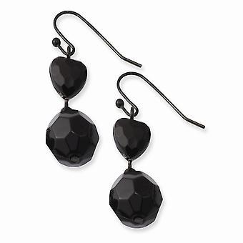 Crochet de berger Black Plating Noir plaqué Noir Perles acryliques noires long drop Dangle Boucles d'oreilles Bijoux Bijoux pour les femmes