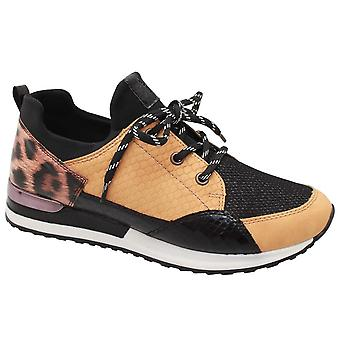 Remonte Yellow Multi Print Lace Up Trainer (en)