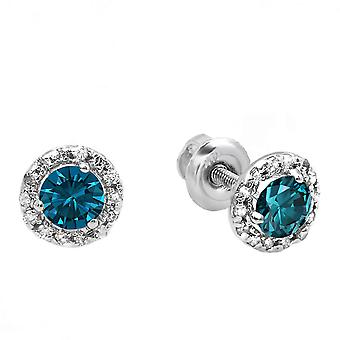 Dazzlingrock Collection 0.35 Carat (ctw) 10K Round Blue & White Diamond Halo Stud Earrings, White Gold