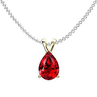 Dazzlingrock Collection 10K 8x6 mm Pear Cut Garnet Ladies Solitaire Pendant (Silver Chain Included), Yellow Gold