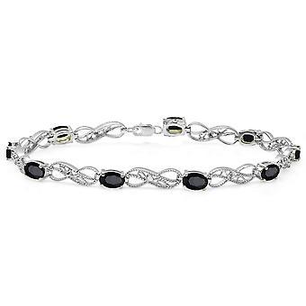 Dazzlingrock Collection Oval Cut Black Sapphire & Round Cut White Diamond Ladies Infinity Link Tennis Bracelet, Sterling Silver