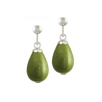 Eternal Collection Fontana Olive Green Jade Silver Tone Drop Clip On Earrings