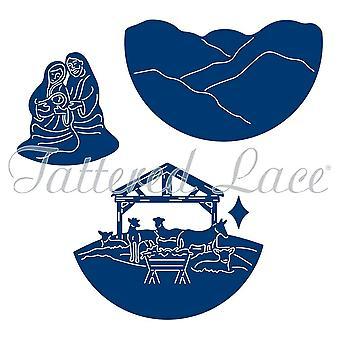 Tattered lace Die set CHRISTMAS snowglobe inner Nativity Scene ETL224