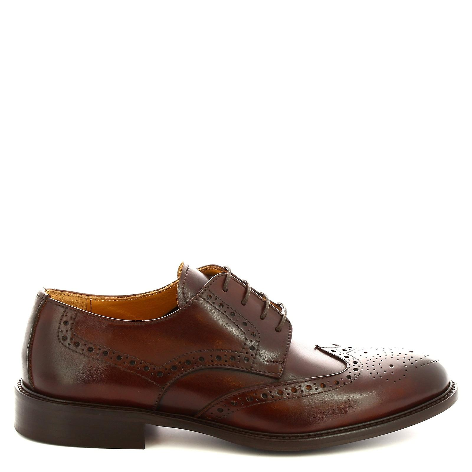 Leonardo Shoes Men's handmade derby brogues shoes in brown calf leather