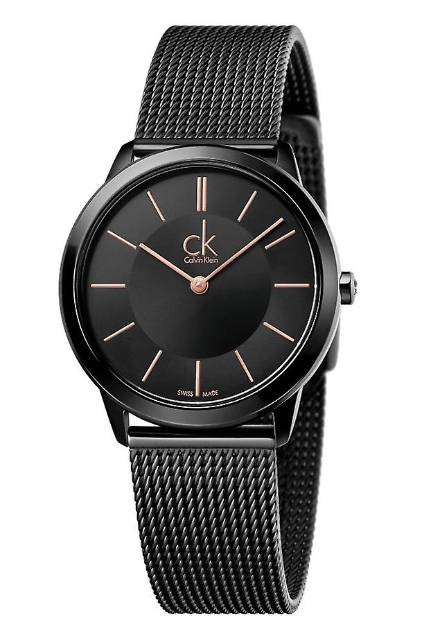 Calvin Klein Minimal Midsize Unisex Watch with Mesh Strap and Black Dial K3M22421