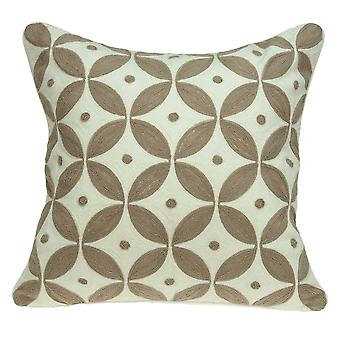 """20"""" x 7"""" x 20"""" Transitional Beige and White Accent Pillow Cover With Poly Insert"""