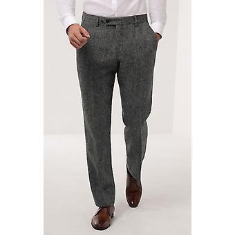 Scottish Harris Tweed Mens Grey Suit Trousers Regular Fit 100% Wool Herringbone