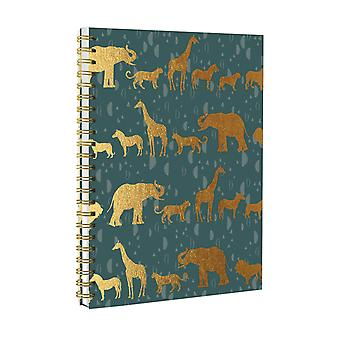 Totally Fierce Green & Gold Animal A5 Spiral Bound Twin Wire Hard Cover Notebook