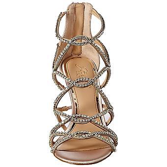 Jewel Badgley Mischka Women's DELANCEY Sandal, champagne satin, 6.5 M US