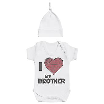 I Love My Brother Star Cuore, Bianco Baby Body, Bianco Baby Tietop Cappello, Bambino Outfit